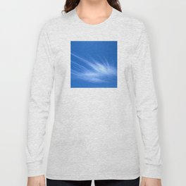 Ivory Strands of Clouds in Bright Blue Sky Long Sleeve T-shirt