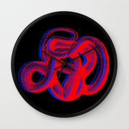 Snek 2 Snake Red Blue Wall Clock