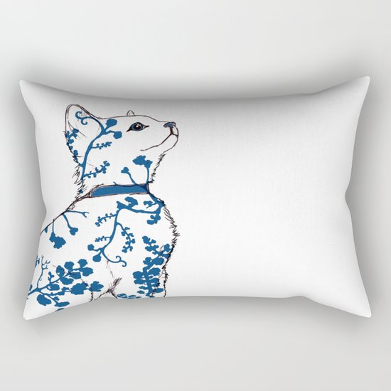 Floral Kitten Rectangular Pillow