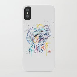 Havanese Colorful Watercolor Pet Portrait Painting iPhone Case