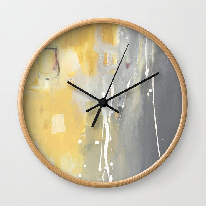 50 Shades of Grey and Yellow Wall Clock