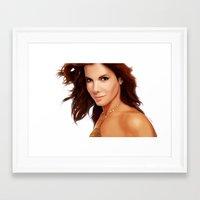 sandra dieckmann Framed Art Prints featuring Sandra Bullock by RoPerez