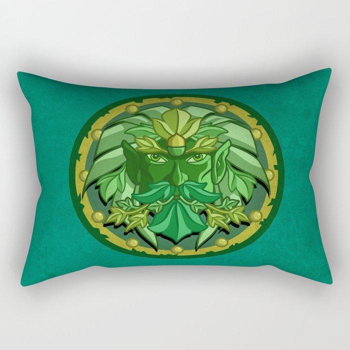 Green Man Rectangular Pillow