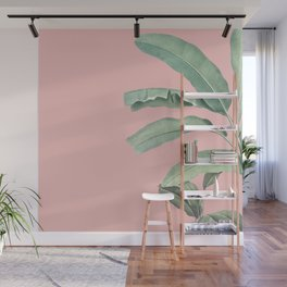 Green leaves on rose ink Wall Mural