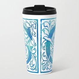 Letter G Antique Floral Letterpress Monogram Travel Mug