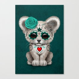 Teal Blue Day of the Dead Sugar Skull White Lion Cub Canvas Print