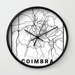 Coimbra Light City Map Wall Clock