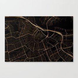 Black and gold Amsterdam map Canvas Print