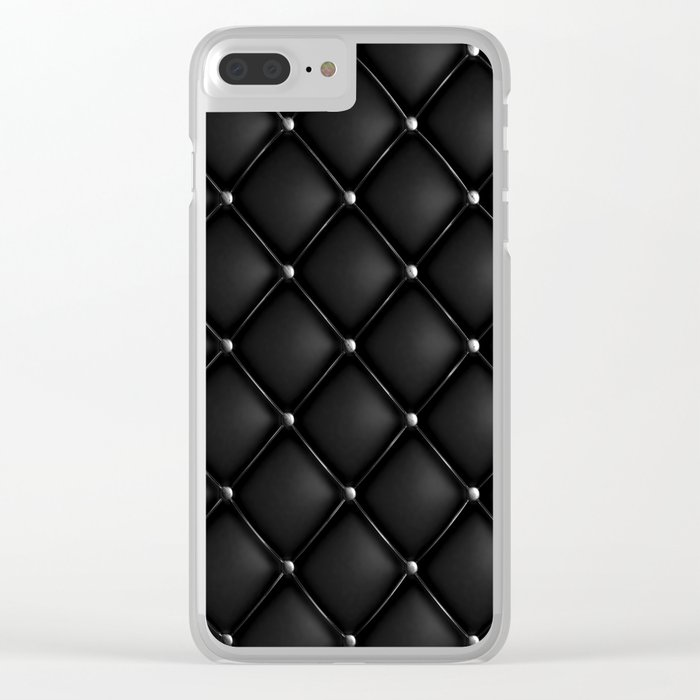 Black Quilted Leather Clear iPhone Case