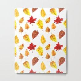 Autumn leaves pattern Metal Print