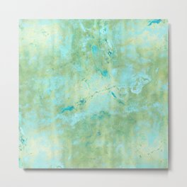 Blue & Gold Abstract Marble Metal Print