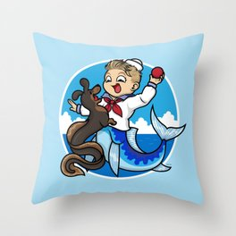 A Merboy and his Sea Dog Throw Pillow