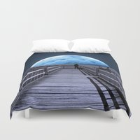 tiffany Duvet Covers featuring Once in a blue moon by Donuts