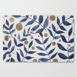 Watercolor berries and branches - indigo and beige Cutting Board