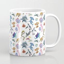 Marine creatures pattern in white Coffee Mug