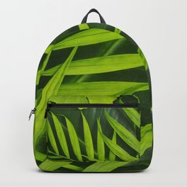 Fresh Green Tropical Palm and Gingko Leaf Backpack