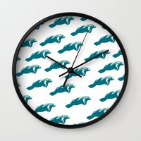 manatee Wall Clocks featuring Manatee by Gallery Girl