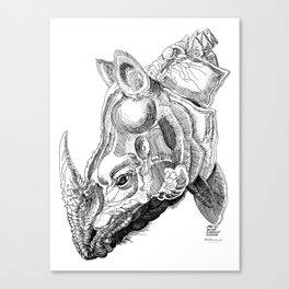 Rhino engraving Canvas Print