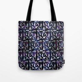 Yoga Asanas / Poses  pattern on Amethyst Tote Bag