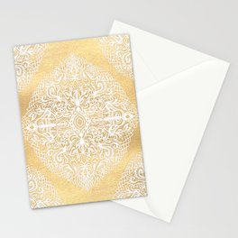White Gouache Doodle on Gold Paint Stationery Cards