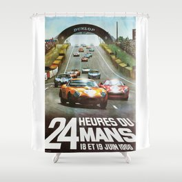 1966 Le Mans poster, Race poster, car poster, garage poster Shower Curtain