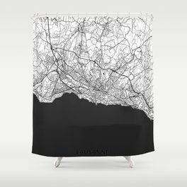 Lausanne Map Gray Shower Curtain