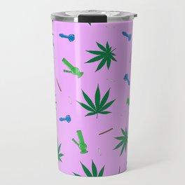 Weed Leaf, Bongs, Pipes, Joint, Blunts Pattern Travel Mug