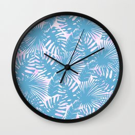 Modern teal pink watercolor tropical floral leaves Wall Clock