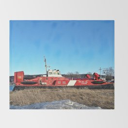 Hovercraft in Town Throw Blanket