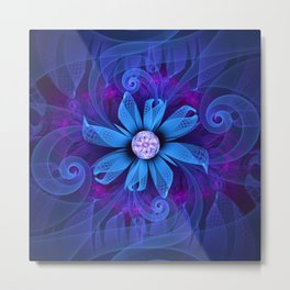 A Snowy Edelweiss Blooming as a Blue Origami Orchid Metal Print