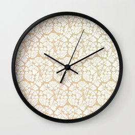 William morris pattern in gold Wall Clock