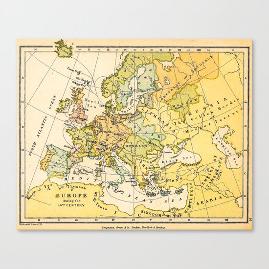 Europe During The 14th Century - Vintage Map Canvas Print