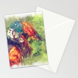 The Starting Gate - Motocross Champion Rider Prepares to Race Stationery Cards