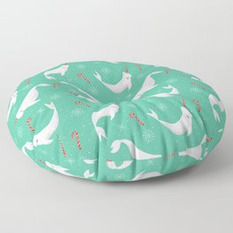 Candy Cane Narwhals 2020 version Floor Pillow