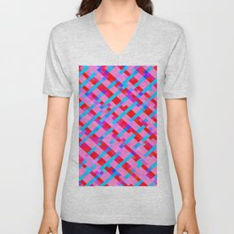 geometric pixel square pattern abstract background in pink blue red Unisex V-Neck