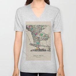 Colorful City Maps: Chula Vista, California Unisex V-Neck