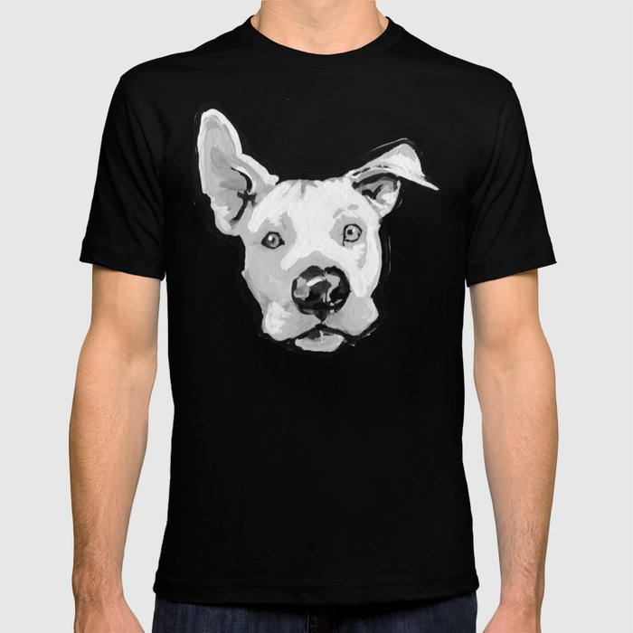 f1f4222bb RESCUE ME Pit Bull Pitbull Dog Pop Art black and White Painting by LEA T- shirt