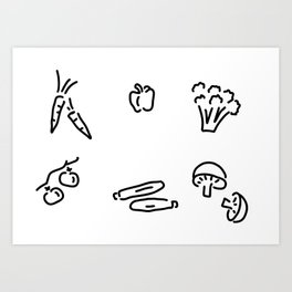 vegetables mushrooms Art Print