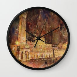 Piazza del Campo in medieval city of Siena, Italy.  Siena Itay art Wall Clock
