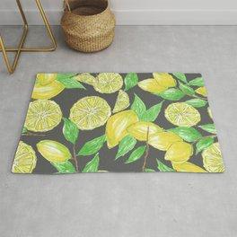 Watercolor Lemon Twig Allover Print Design Rug