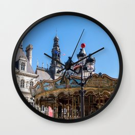 Merry go round on the square in front of the City Hall - Paris Wall Clock