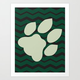 Ohio University Chevron Bobcat Paw Art Print