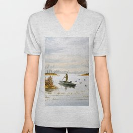 Duck Hunting - The Island Duck Blind Unisex V-Neck