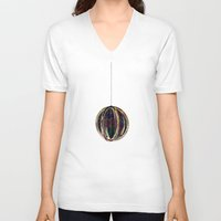 globe V-neck T-shirts featuring Bubble Globe by Khana's Web