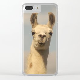 excited llama face Clear iPhone Case