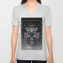 Magical Moth Black Unisex V-Neck