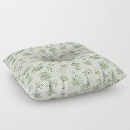 Green Autumn Botanical Pattern Floor Pillow