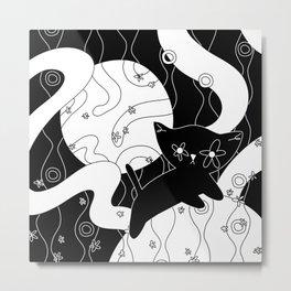 STRAY UNDER A MOON - Black White Cat Moonlit Dream Meadow Metal Print