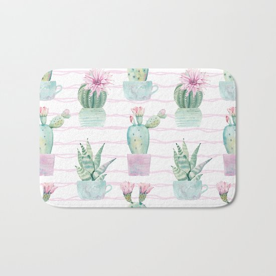 Simply Echeveria Cactus on Desert Rose Pink Wavy Lines Bath Mat