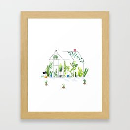 Greenhouse | Watercolor Illustration Framed Art Print